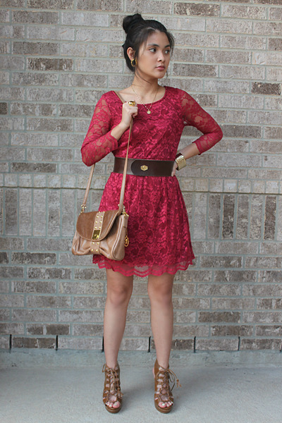 vintage lace Rue 21 dress - Vieta purse - strappy Wet Seal heels