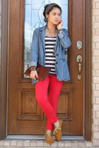 blue blazer - mustard oxfords shoes - brown leather clutch bag - red pants