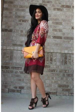 dark brown felt Icing hat - brick red Rue 21 dress - dark brown fringe heels