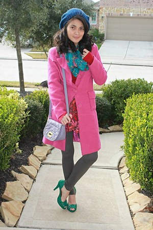 light purple Forever 21 purse - hot pink Body Central coat