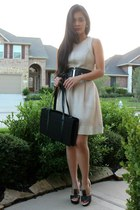 black Nina Ricci bag - nude Armani Exchange dress - bronze sbicca wedges