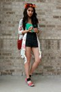 Brick-red-sling-purse-black-high-waist-shorts