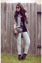 hat - gray anorak Wet Seal jacket - jeggings Wet Seal leggings