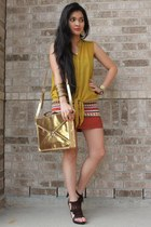 gold sling mailman bag - burnt orange tribal pencil 579 skirt