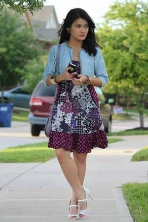 white shoes - purple No Boundaries dress - light blue denim shrug jacket