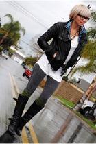 black Zara jacket - green Target socks - white H&M shirt - black Aldo boots - bl