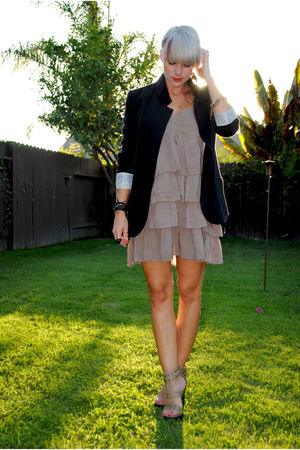 black Necessary Objects blazer - beige H&M dress