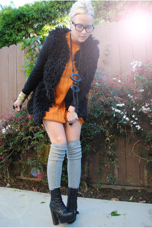 black Topshop boots - carrot orange thrifted dress - heather gray Topshop socks 