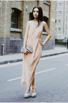 nude chiffon Sheinside dress - silver sequin Club Monaco purse