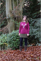 maroon animal print Joules jumper - dark brown Celtic Sheepskin boots
