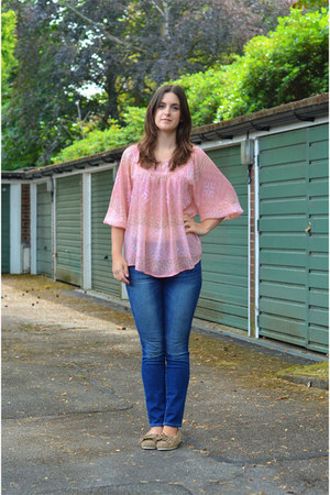 light pink Forever 21 blouse - tan Chatham Marine shoes - blue Gap jeans