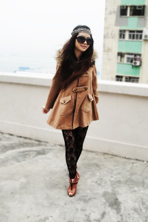 burnt orange vintage coat - black lace vintage leggings