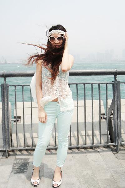 white lace Zara top - aquamarine Zara pants