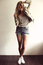 ivory Zara jacket - white Converse shoes - sky blue Levis shorts