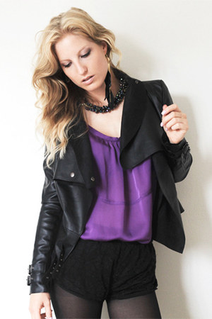black River Island jacket - black H&M shorts - deep purple marco polo top
