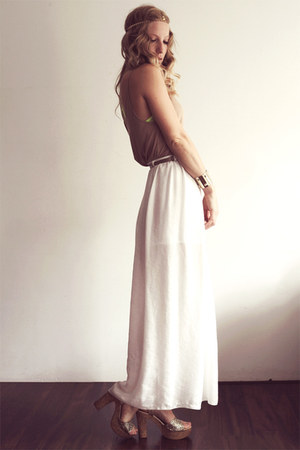 ivory River Island skirt - tan Alexander Wang top - gold cafe moda heels