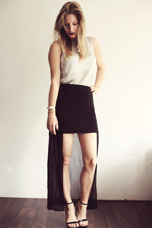 black naked Zara heels - black Zara skirt - silver H&M Trend top