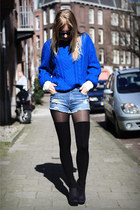 blue H&M sweater - blue Zara shorts - black rascal heels