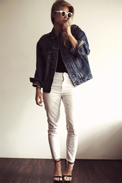 navy vintage Levis jacket - white H&M jeans - black tank just female top