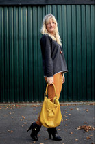 yellow Zara jeans - Zara shirt - yellow leather Francesco Biasia bag