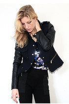 navy Zara jacket - black quilted Zara leggings - blue sequined dept top