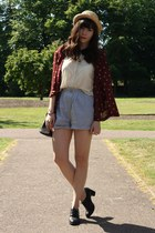 brick red blazer - light blue shorts - off white blouse