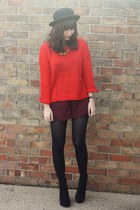 red sweater - crimson lace shorts
