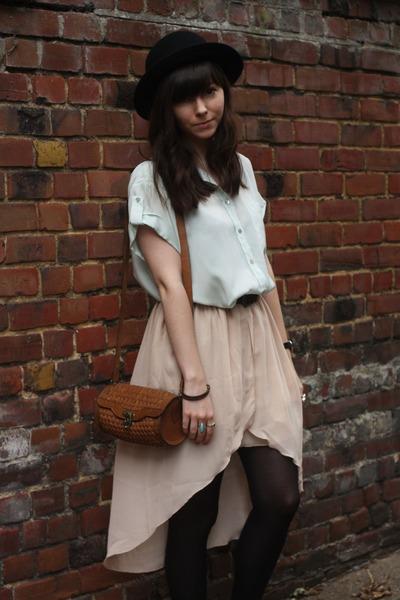 mint blouse - neutral sheer skirt