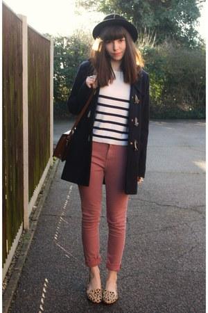 pink jeans - navy duffle coat