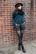 black faux leather shorts - dark brown hat - teal sweater - scarf