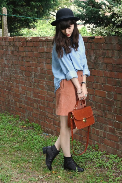 peach suede skirt - denim shirt