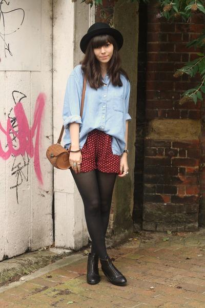 crimson polka dot shorts - denim shirt