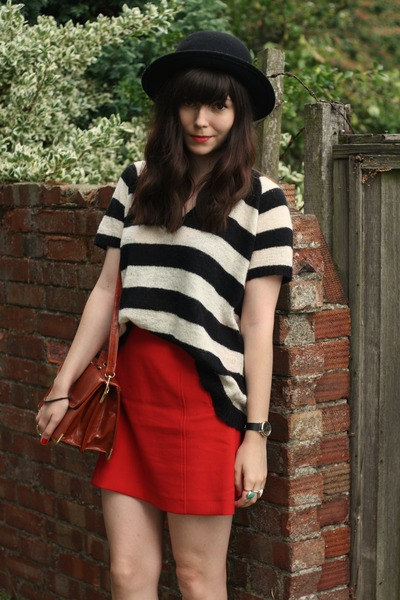 red skirt - striped jumper