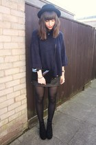 navy sweater - black skirt