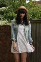white lace dress - denim jacket jacket