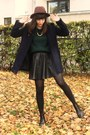Navy-coat-forest-green-sweater-black-faux-leather-skirt