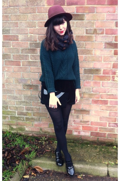forest green sweater - black velvet shorts