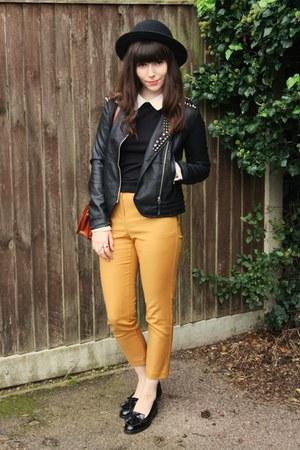mustard ankle grazer pants - black studded leather jacket - black patent loafers