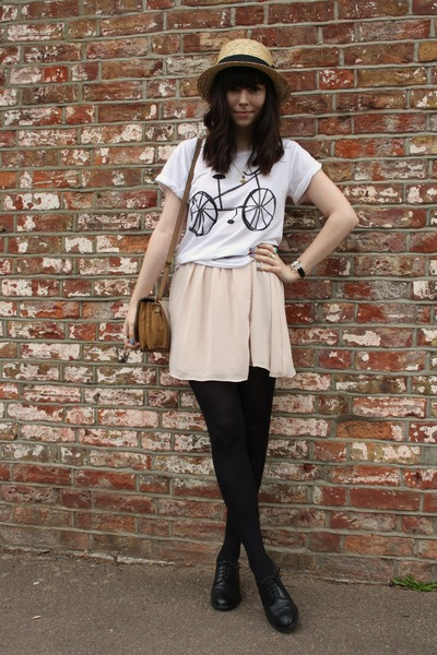 white Topshop t-shirt - light pink Topshop dress - cream H&M hat
