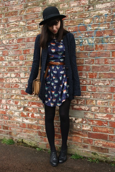 navy dress - navy cardigan