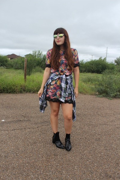 Zara boots - floral Zara dress - plaid vintage shirt - Bauble Bar ring