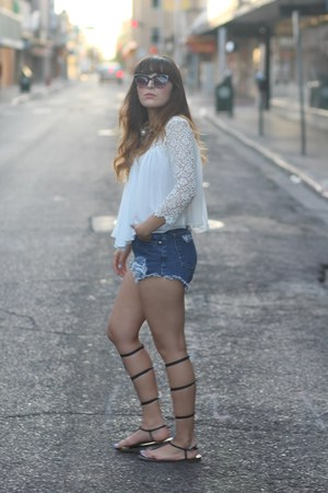 navy diy vintage shorts - black alexander wang DIY sandals - white lace Zara top