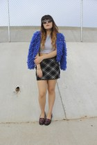 blue fuzzy blue Polly the Label cardigan - brick red platform asos loafers