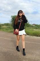 black Zara boots - brick red pashli 31 Phillip Lim bag - white Zara skirt