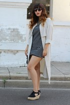 black striped Forever 21 dress - ivory trench coat H&M coat