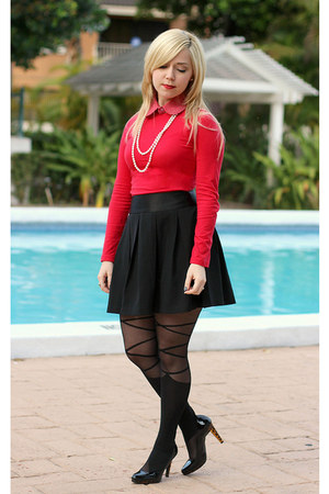 black romwe tights - black Charlotte Russe skirt - red Forever21 top