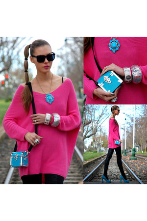 Shag bag - bright pink Zara sweater - Pac-man Shades glasses
