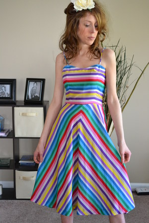 chevron stripes vintage etsy dress - rainbow colors vintage dress dress - dress