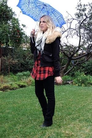 Civies Savannah GA blouse - H&M scarf - Kenneth Cole Reaction jacket - jeans usa