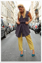 green vintage pants - blue vintage shoes - gray Quiksilver Women dress